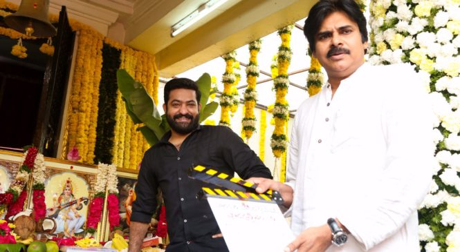 Pawan Kalyan with Jr NTR 28th Movie Inauguration Photo Gallery