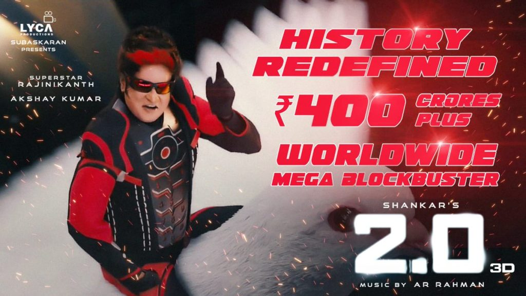 2.0 Grossed 400 Crores in 1st Weekend at Global Box Office